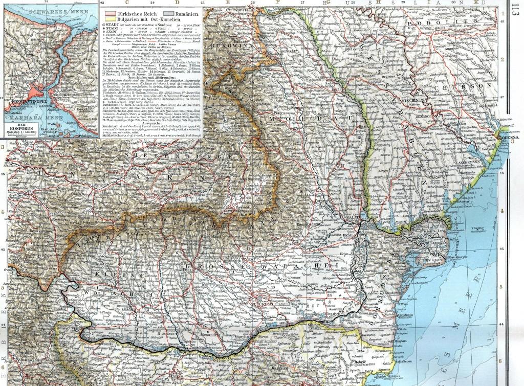 """Granice Rumunii w latach 1878 - 1913. Znaleziony na Wikipedii skan pochodzi z: """"Andrees Handatlas"""", Velhagen & Klasing, 1901."""