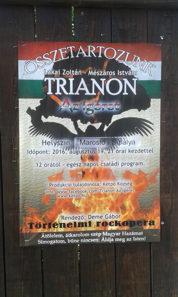 Jeden z wielu plakatów tego typu, z popularnym wśród Węgrów motywem mapy sprzed 1918 roku.