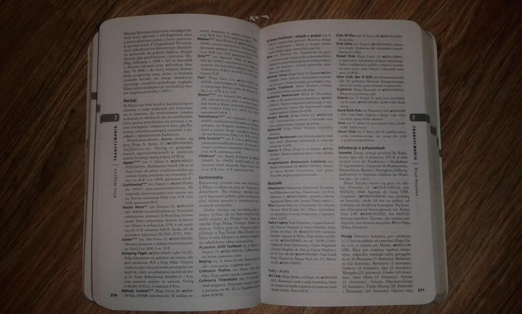 Wydanie z 2008 roku. Fragment opisu Klużu i przesyt zbędnych informacji